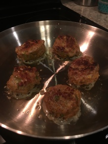 Asian Turkey Meatballs searing in sesame oil.